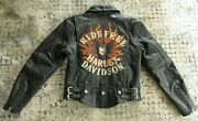 Harley Davidson Small Flame Ii Ride Free Heavy Weight Leather Jacket 98134-03vw