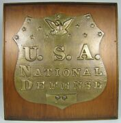 Usa National Defense Old Brass Plaque Military Sign Embossed Eagle Patina