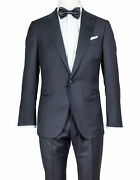 Caruso Tuxedo In Black Made Of Super 130and039s Wool - Contrasting Reverse