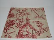Toile Oriental Upholstery Fabric Sample Rare Red