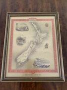 Antique Map Of New Zealand By John Tallis 1851 In Gold 8x10 Inch Frame