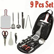9pcs Bbq Tools Set Barbecue Grilling Accessories Utensil For Outdoor Camping Kit