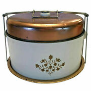 Vintage Enamel Metal Cake Carrier Copper Top Kitchen Farmhouse French Country