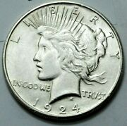 1924-s Peace Dollar Old Key Date Rare Silver Coin 1.00 Uncertified
