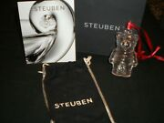 Steuben Teddy Bear Ornament Christmas Holiday With Bag And Box - New In Box And Bag