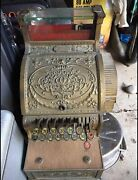 Antique Brass National Cash Register 316 317 With Counter