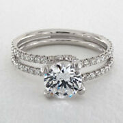 Round Cut 1.06 Ct Real Diamond Engagement Ring Solid 14k White Gold Size 5 7 8 9