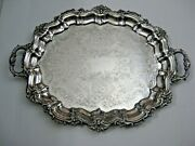 Antique Sheffield Silver Co. Oval Silver Plate Serving Footed Tray Handles