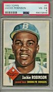 1953 Topps Baseball Jackie Robinson Card 1 Psa 4 Very Good-excellent Condition