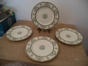 4 Minton Limited Henley Green/blue Flowers And Scrolls Bread Plate 6 1/2 Nos