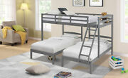 Full Over Twin And Twin Bunk Bed Wooden Bed Frame Triple Sleeper 3 Tier Bunk Bed