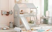 Twin Over Twin Bunk Bed Wood House Bed With Roof Window Slide Ladder For Kids