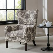Arianna Accent Swoop Wing Chair Black Floral New