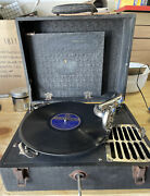 Vintage Portable Hand Crank Wind Up Phonograph Record Player 78rpm - Tested