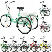 26/24 7speed Adult Folding Tricycle 3-wheel Trike Bicycle W/basket For Shopping