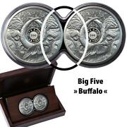 South Africa 2021 Big Five Buffalo Double Capsule 2 X 1 Oz Proof Silver Coins