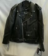 Nwt M-boss Menand039s Motorcycle Eagle Embossed Class Biker Leather Jacket 2xl Black