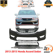 Front Primed Bumper Cover + Upper And Low Grille For 2013-2015 Honda Accord Sedan