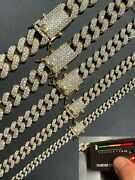 Real Miami Cuban Link Chain Iced Moissanite 14k Gold And Solid 925 Silver Necklace