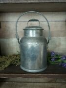 Antique Milk Can Cream Pail With Bail Handle And Lid 2 Quart
