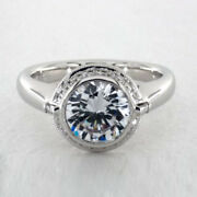 Real Diamond Engagement Ring Solid 950 Platinum Round Cut 0.83 Ct Size 5 6 7 8 9