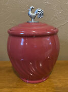 Lillian Vernon Large Red Ceramic Canister Rooster Chicken Cookie Jar