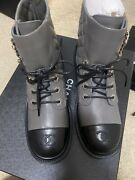 21a Gray Black Quilted Cc Chain Combat Ankle Boots 38 100 Authentic