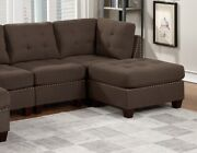 Black Coffee Unique Sectional Corner Ottoman Armless Chair 6pc Set U-sectional
