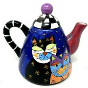 Milson And Louis Multicolored Hand Painted Ceramic Cats Tea Pot