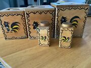 Vtg Woodpecker Woodware Set Of [3] Rooster Canisters + Salt And Pepper Shakers