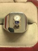 """New Men's Heavy Solid Stainless Steel """"odd Fellows"""" Ring"""