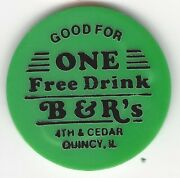 Bandrand039s 4th And Cedar Quincy Illinois One Free Drink Green Plastic Bar Token