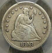 1858-s Seated Liberty Quarter, Pcgs Very Fine Details, Scarce, Low Mintage Date
