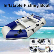 4 Person Inflatable Fishing Rowing Boat Pvc W/ Transport Bag 1 Pair Of Oars