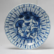 Antique Chinese 16/17c Chinese Porcelain Ming Transitional Kraak Plate Deer