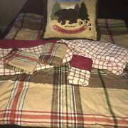 Woolrich Kids Big Bear Campground Full Bedding Multi Color Plaid Stripe Ticking