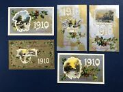 5 New Years Antique Postcards, 1910 Dates. Emb, Gold Silver Trim. Publ Winsch