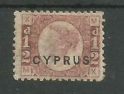 Cyprus Sg1 Plate 19 The Very Rare 1880 Half-penny Red Mint With Cert Cat Andpound5000