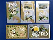 5 New Years Antique Postcards Dates 1910 Emb, Gold Silver Trim. Publ Winsch