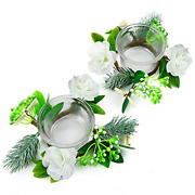 Oyaton Glass Tealight Candle Holder Set With Small Flower Candle Rings Wreath 2