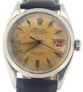 Vintage Rolex Date Mens Stainless Steel Watch Black Band Strap Patina Dial 6534