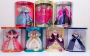 Vintage Lot Of 7 1993-99s. Barbie Dolls Holiday Special Edition Collector Dolls.