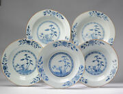 5 Antique Chinese Porcelain 18th C Kangxi Period Blue White Dinner Plates