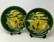 Pair Of 1940and039s Wwii Japanese Internment Camp Hand Painted Plates Art Militaria