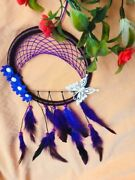 Blue Dream Catcher Flower Feather Pendant Wall Hanging For Car Home Wall