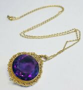Antique 19th C. Victorian 14k Yellow Gold Filigree Faceted Amethyst Necklace