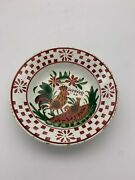 Hen And Rooster Soup Plate With Red Border Possibly German Can Hang