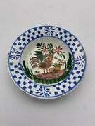 Hen And Rooster Soup Plate With Blue Border Possibly German Can Hang