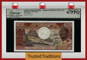 Tt Pk 1 1974 Central African Republic 500 Francs Pcgs 67 Ppq Superb 1st Issued