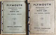 Lot Of 2 Plymouth Commercial And Passenger Car Preliminary Parts List 1941 Series